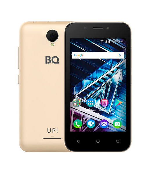 "Смартфон BQ-4028 UP! Gold  4""/800х480WVGA/Spreadtrum 7731E. 4 ядра/512Mb+8Gb/5+2MP/1300 мАч/3G"