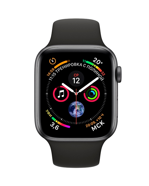 Смарт-часы Apple Watch Series 4 44mm Space Gray Aluminium Case With Black Sport Band